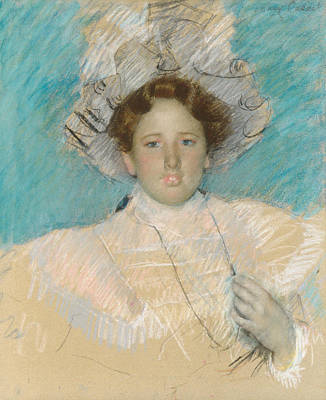 Pastel - Adaline Havemeyer In A White Hat by Mary Cassatt