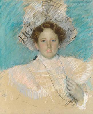 Pastel - Adaline Havemeyer In A White Hat by Mary Cassatt