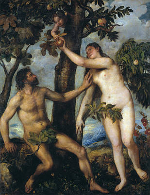 Adam Painting - Adam And Eve by Titian