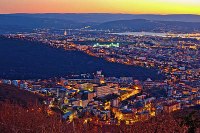 Photograph - Aerial Evening View Of Trieste by Brch Photography