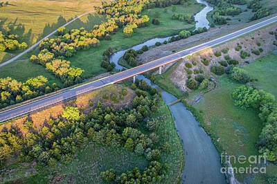 Photograph - aerial view of Dismal River in Nebraska by Marek Uliasz