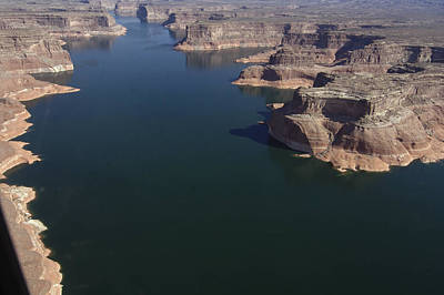 Aerial View Of Lake Powell Art Print by Carl Purcell