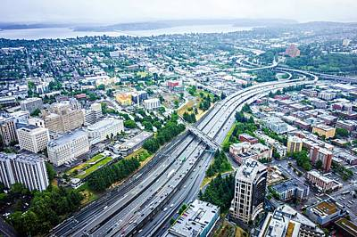 Photograph - Aerial Views Over Seattle Washington by Alex Grichenko