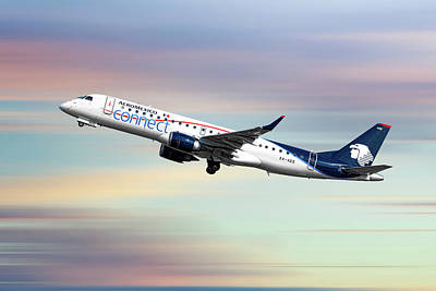 Mixed Media - Aeromexico Connect Embraer Erj-190ar by Smart Aviation