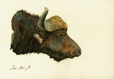 African Painting - African Buffalo Watercolor Painting by Juan  Bosco
