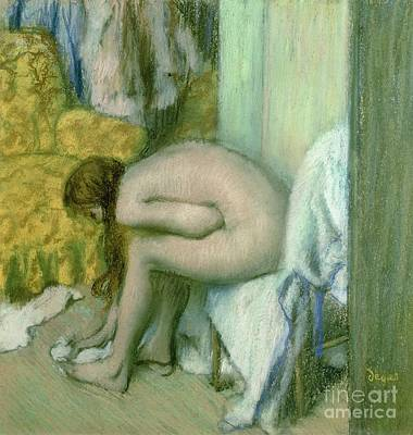 Cardboard Pastel - After The Bath by Edgar Degas
