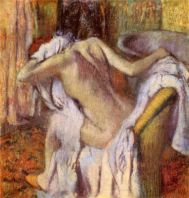 Toilet Painting - After The Bath, Woman Drying Herself by Edgar Degas