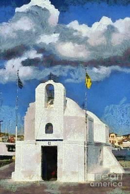 Town Painting - Agios Nikolaos Chapel In Aegina Port by George Atsametakis