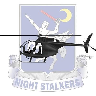 Ah-6j Little Bird Night Stalkers Art Print by Arthur Eggers