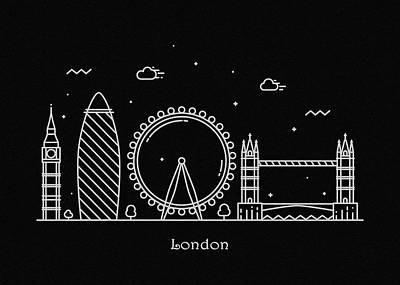 Abstract Landscape Drawing - London Skyline Travel Poster by Inspirowl Design