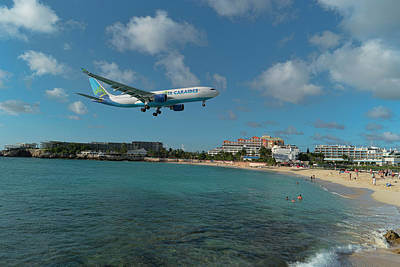 Photograph - Air Caraibes Landing At St. Maarten by David Gleeson