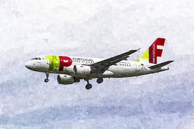 Thomas Kinkade - Air Portugal Airbus A319 Art by David Pyatt