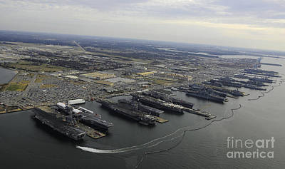 Politicians Royalty-Free and Rights-Managed Images - Aircraft Carriers In Port At Naval by Stocktrek Images