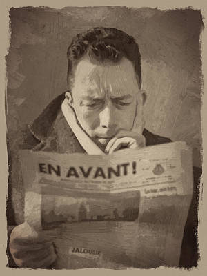 Author Digital Art - Albert Camus 1 by Afterdarkness