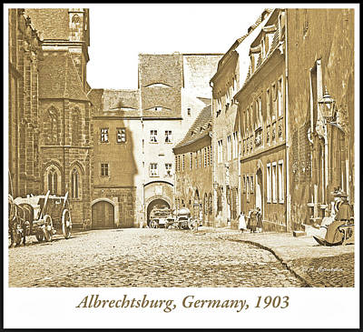 Rose - Albrechtsburg Castle and Street Scene, 1903, Vintage Photograph by A Macarthur Gurmankin