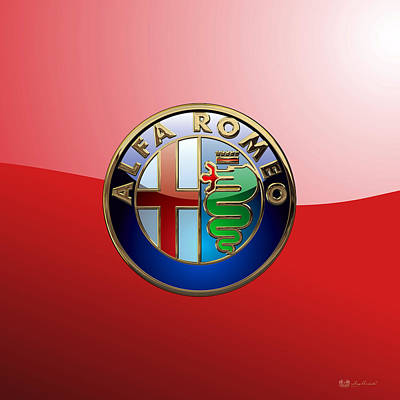 Digital Art - Alfa Romeo - 3d Badge On Red by Serge Averbukh