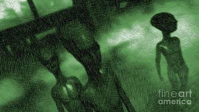 Aliens In Green Fog Art Print