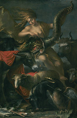Horn Of Plenty Painting - Allegory Of Fortune by Salvator Rosa