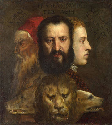 Fable Painting - Allegory Of Time Governed By Prudence by Titian