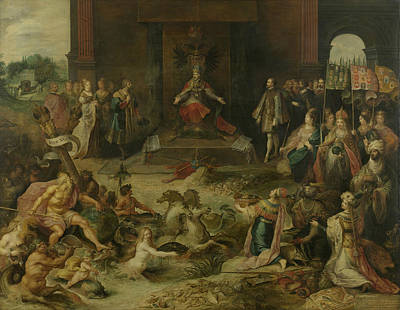 Painting - Allegory On The Abdication Of Emperor Charles V In Brussels by Frans Francken the Younger