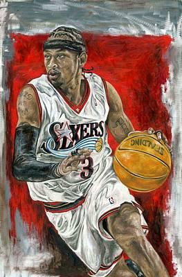 David Courson Painting - Allen Iverson by David Courson