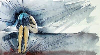 Crying Painting - Alone by Kovacs Anna Brigitta