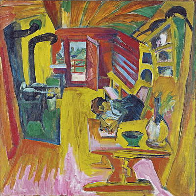 Inside Painting - Alpine Kitchen by Ernst Ludwig Kirchner