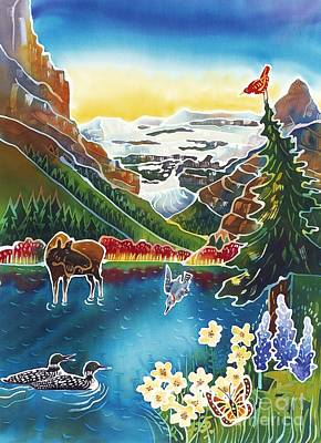 Loon Painting - Alpine Lake Sunrise by Harriet Peck Taylor