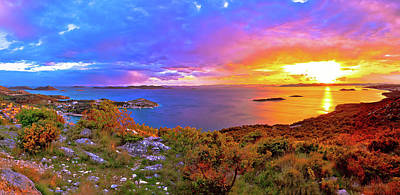 Photograph - Amazing Colorful Sunset Panorama Of Pakostane Archipelago by Brch Photography