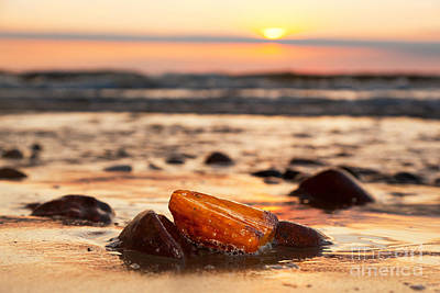 Photograph - Amber Stone On The Beach by Michal Bednarek