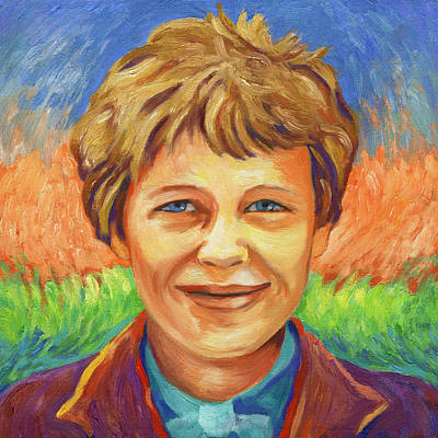 Painting - Amelia Earhart Portrait by Linda Ruiz-Lozito