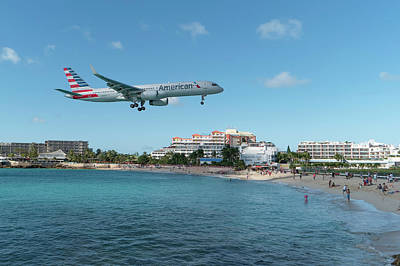 American Airlines Landing At St. Maarten Art Print