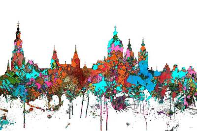 Digital Art - Amsterdam The Netherlands Skyline by Marlene Watson