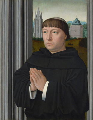 Catholic Painting - An Augustinian Friar Praying by Gerard David