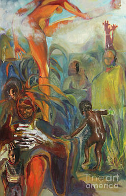 Art Print featuring the mixed media Ancestor Dance by Daun Soden-Greene