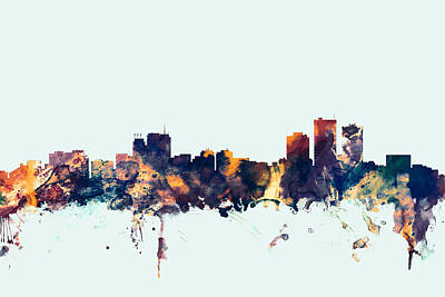 Anchorage Alaska Skyline Art Print by Michael Tompsett