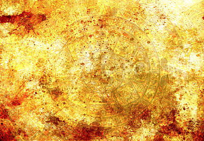Mayan Character Painting - Ancient Mayan Calendar, Abstract Color Background. by Jozef Klopacka