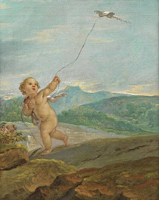 Painting - Angel Flying A Kite by Etienne Parrocel
