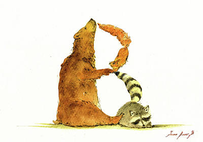 Squirrels Painting - Animal Letter by Juan Bosco