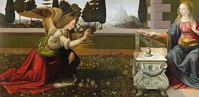 Annunciation Painting - Annunciation by Leonardo Da Vinci