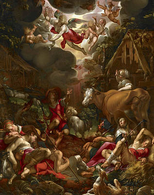 Painting - Annunciation To The Shepherds by Joachim Wtewael