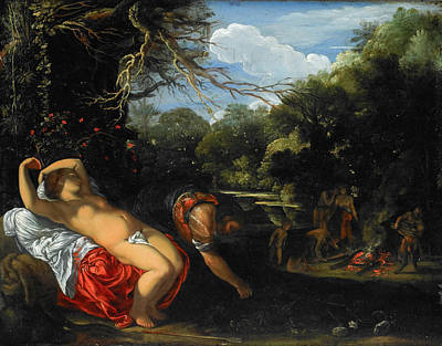 Outdoor Nude Painting - Apollo And Coronis by Adam Elsheimer