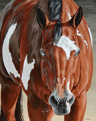 Pinto Horse Painting - Apollo by Lesley Alexander