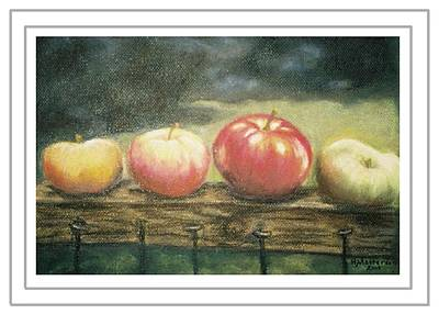 Painting - Apples On A Rail by Harriett Masterson