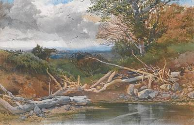 Approaching Storm In  Landscape Art Print by Henry Bright