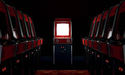 Steer Digital Art - Arcade Aisle With One Illuminated  by Allan Swart