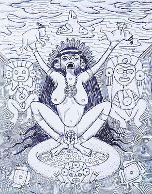 Taino Drawing - Atabex by Jose Guerrido jr