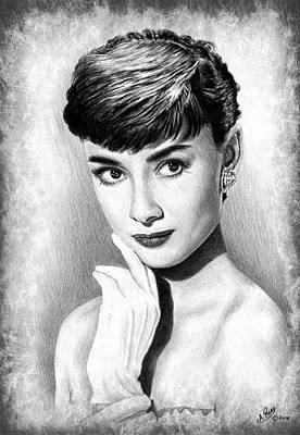 Brunette Drawing - Audrey Hepburn by Andrew Read