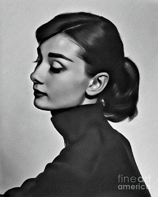 Musicians Royalty Free Images - Audrey Hepburn, Digital Art by Mary Bassett Royalty-Free Image by Esoterica Art Agency