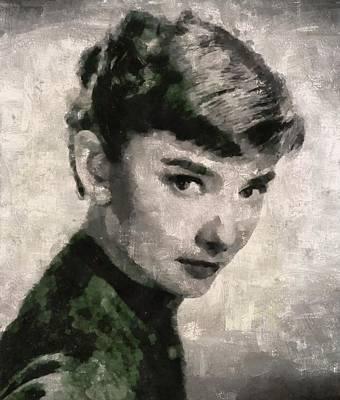 Audrey Hepburn Hollywood Actress Art Print by Mary Bassett